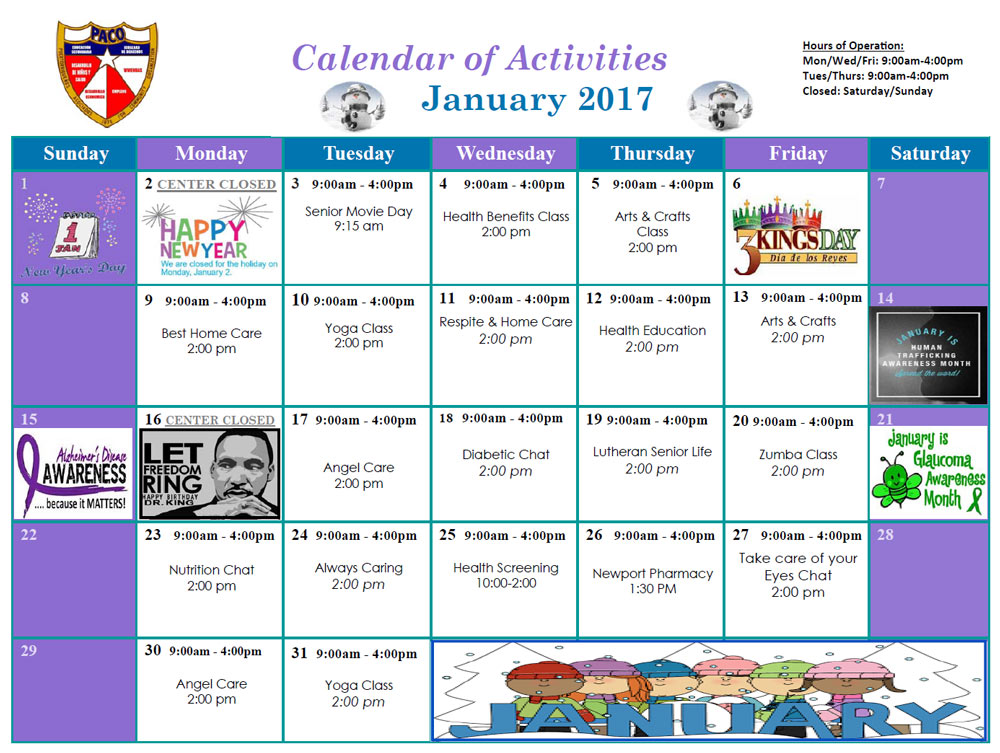 Calendar Of Activities January 2017