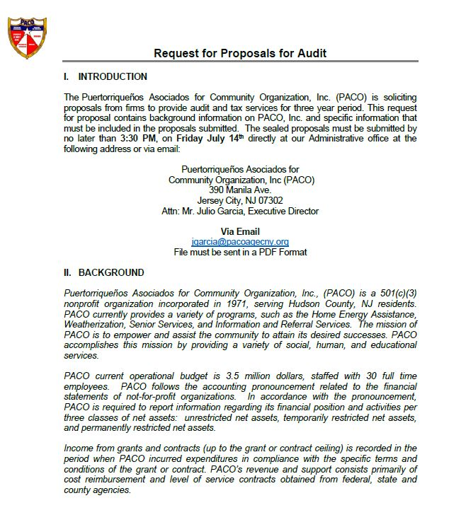 request for proposal rfp for cpa firms paco puertorriquenos