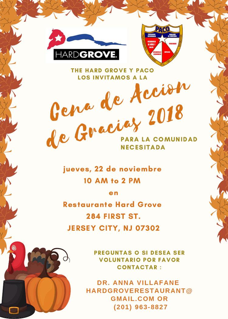 Cena De Accion de Gracias 2018 flyer informacion